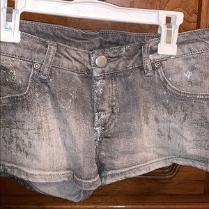 Metallic jean shorts